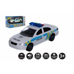 Obrázek Auto policie plast 15cm na baterie se zvukem se světlem na setrvačník v krabici 20x11x9cm