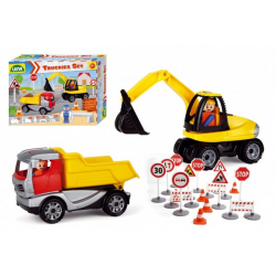 Obrázek Truckies set stavba plast stavební stroje s figurkami s doplňky v krabici 38x28x10cm 24m+