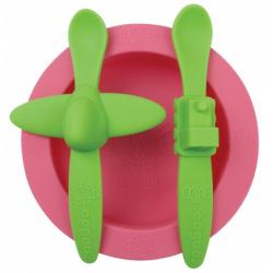Obrázek Sada nádobí Oogaa růžová se zelenou