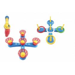Obrázek Házecí hra plast kříž s kruhy + košíčky s míčky v síťce