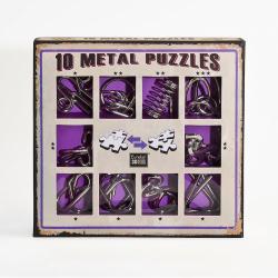 Obrázek Sada 10 hlavolamů kov fialová