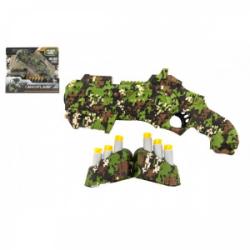 Obrázek Pistole vojenská na pěnové náboje plast 23cm + pěnové náboje 6ks se zásobníkem v krabičce 28x24x5cm
