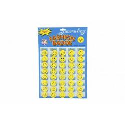 Obrázek Odznak smajlík malý 3cm žlutý kov/plast 40ks na kartě v sáčku