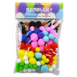 Obrázek Bambulky -  mix barev, 100 ks - velikost 15,20,25 mm