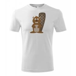Obrázek Pánské Tričko Classic New - Veselá zvířátka - Bobr, vel. S , bílá
