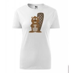 Obrázek Dámské Tričko Classic New - Veselá zvířátka - Bobr, vel. S , bílá