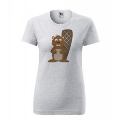 Obrázek Dámské Tričko Classic New - Veselá zvířátka - Bobr, vel. S , šedý melír