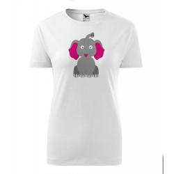 Obrázek Dámské Tričko Classic New - Veselá zvířátka - Sloník, vel. S - bílá