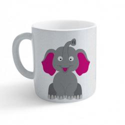 Obrázek Hrnek Veselá zvířátka - Sloník - třpytivý stříbrný