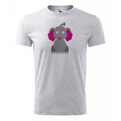 Obrázek Pánské Tričko Classic New - Veselá zvířátka - Sloník, vel. S - šedý melír