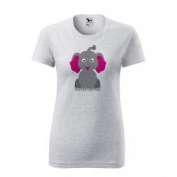 Obrázek Dámské Tričko Classic New - Veselá zvířátka - Sloník, vel. S - šedý melír