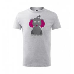 Obrázek Dětské Tričko Classic New - Veselá zvířátka - Sloník, vel. 6 let - šedý melír