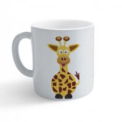 Obrázek Hrnek Veselá zvířátka - Žirafa - třpytivý stříbrný