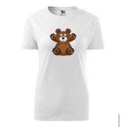 Obrázek Dámské Tričko Classic New - Veselá zvířátka - Medvídek, vel. S , bílá