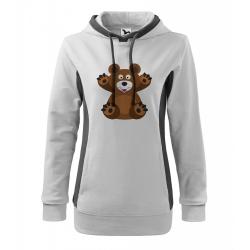 Obrázek Mikina Kangaroo - Veselá zvířátka - Medvídek, vel. M - bílá