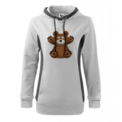 Obrázek Mikina Kangaroo - Veselá zvířátka - Medvídek, vel. XL , bílá