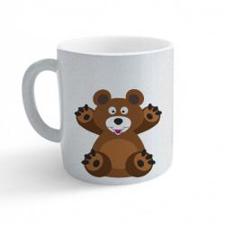 Obrázek Hrnek Veselá zvířátka - Medvídek - třpytivý stříbrný