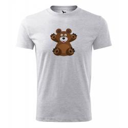 Obrázek Pánské Tričko Classic New - Veselá zvířátka - Medvídek, vel. S - šedý melír