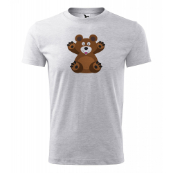 Obrázek Pánské Tričko Classic New - Veselá zvířátka - Medvídek, vel. S , šedý melír