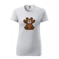 Obrázek Dámské Tričko Classic New - Veselá zvířátka - Medvídek, vel. S - šedý melír