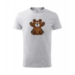 Obrázek Dětské Tričko Classic New - Veselá zvířátka - Medvídek, vel. 6 let - šedý melír