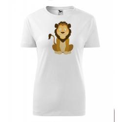 Obrázek Dámské Tričko Classic New - Veselá zvířátka - Lvíček, vel. S , bílá