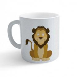 Obrázek Hrnek Veselá zvířátka - Lvíček - třpytivý stříbrný