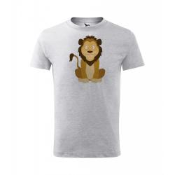 Obrázek Dětské Tričko Classic New - Veselá zvířátka - Lvíček, vel. 6 let - šedý melír