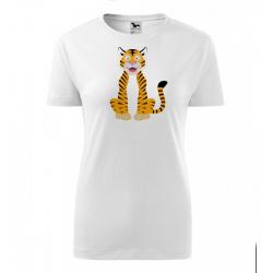 Obrázek Dámské Tričko Classic New - Veselá zvířátka - Tygřík, vel. S , bílá