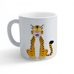 Obrázek Hrnek Veselá zvířátka - Tygřík - třpytivý stříbrný