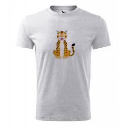 Obrázek Pánské Tričko Classic New - Veselá zvířátka - Tygřík, vel. S , šedý melír