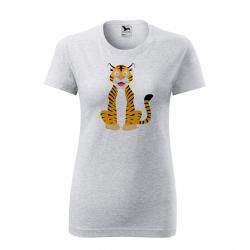 Obrázek Dámské Tričko Classic New - Veselá zvířátka - Tygřík, vel. S , šedý melír