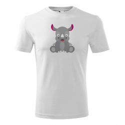 Obrázek Pánské Tričko Classic New - Veselá zvířátka - Nosorožec, vel. S , bílá