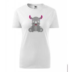 Obrázek Dámské Tričko Classic New - Veselá zvířátka - Nosorožec, vel. S , bílá