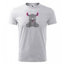 Obrázek Pánské Tričko Classic New - Veselá zvířátka - Nosorožec, vel. S , šedý melír