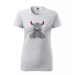 Obrázek Dámské Tričko Classic New - Veselá zvířátka - Nosorožec, vel. S , šedý melír