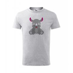 Obrázek Dětské Tričko Classic New - Veselá zvířátka - Nosorožec, vel. 6 let , šedý melír