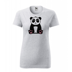 Obrázek Dámské Tričko Classic New - Tučňák a jeho kamarádi - #2 panda velká, vel. S , šedý melír