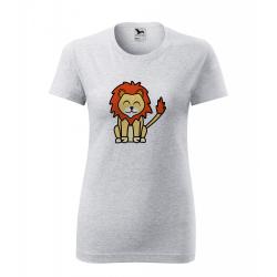 Obrázek Dámské Tričko Classic New - Tučňák a jeho kamarádi - #6 lev pustinný, vel. L , šedý melír