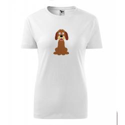 Obrázek Dámské Tričko Classic New - Veselá zvířátka - Pejsek, vel. S , bílá
