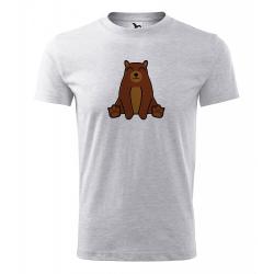 Obrázek Pánské Tričko Classic New - Tučňák a jeho kamarádi - #9 medvěd hnědý, vel. S - šedý melír