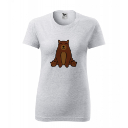 Obrázek Dámské Tričko Classic New - Tučňák a jeho kamarádi - #9 medvěd hnědý, vel. S , šedý melír