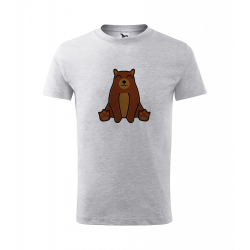 Obrázek Dětské Tričko Classic New - Tučňák a jeho kamarádi - #9 medvěd hnědý, vel. 6 let - šedý melír