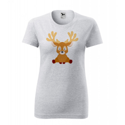 Obrázek Dámské Tričko Classic New - Veselá zvířátka - Sobík, vel. S - šedý melír