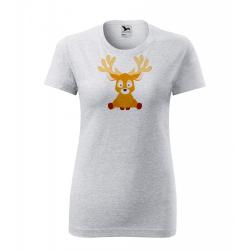 Obrázek Dámské Tričko Classic New - Veselá zvířátka - Sobík, vel. S , šedý melír