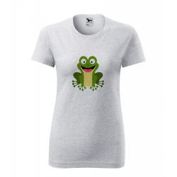 Obrázek Dámské Tričko Classic New - Veselá zvířátka - Žabička, vel. S , šedý melír