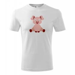 Obrázek Pánské Tričko Classic New - Veselá zvířátka - Prasátko, vel. S , bílá