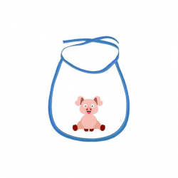 Obrázek Dětský bryndák Veselá zvířátka - Prasátko - modrý