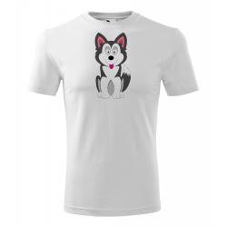 Obrázek Pánské Tričko Classic New - Veselá zvířátka - Husky, vel. S , bílá