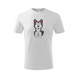 Obrázek Dětské Tričko Classic New - Veselá zvířátka - Husky, vel. 6 let - bílá